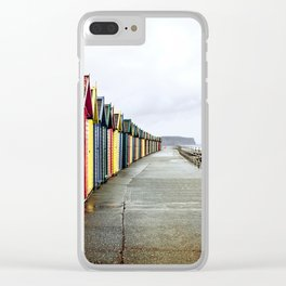 Whitby beach huts Clear iPhone Case