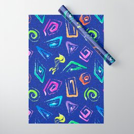 Surf Spiral Shapes in Neon Periwinkle Wrapping Paper