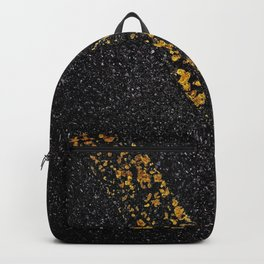 Old Yellow painted line on asphalt road Backpack