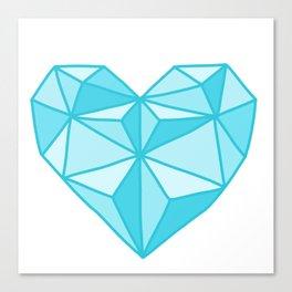 Geometric Diamond Heart - Topaz Canvas Print