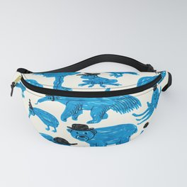 Blue Animals Black Hats Fanny Pack