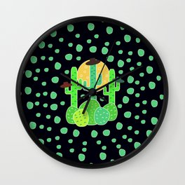 Cacti with hats Wall Clock