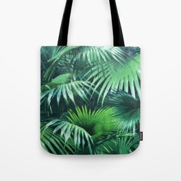 Tropical Botanic Jungle Garden Palm Leaf Green Tote Bag