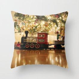 Christmas Tree and Train Throw Pillow