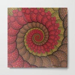 Red and Orange Hippie Fractal Pattern Metal Print