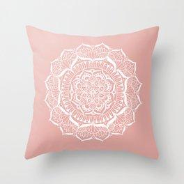 White Flower Mandala on Rose Gold Throw Pillow
