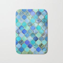 Cobalt Blue, Aqua & Gold Decorative Moroccan Tile Pattern Bath Mat