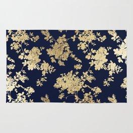 Elegant vintage navy blue faux gold flowers Rug