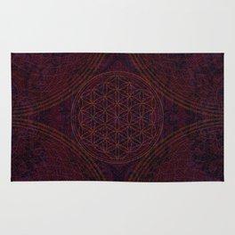 'Nirvana's Within' Burgundy Purple Red Gold Bohemian Design Rug