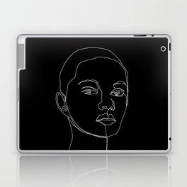 Face one line black and white illustration - Cody Laptop & iPad Skin