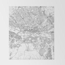 Johannesburg White Map Throw Blanket