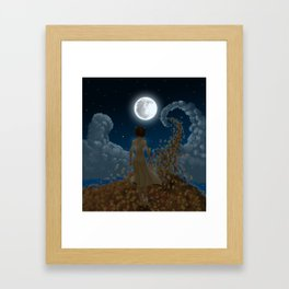 The moon and Leaves Framed Art Print
