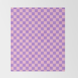 Cotton Candy Pink and Lavender Violet Checkerboard Throw Blanket