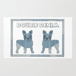 Double Denim French Bulldogs Rug