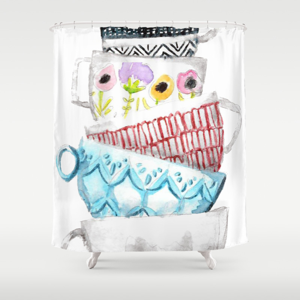 Cups On Cups On Cups Shower Curtain by Hapticdrifter CTN8656197