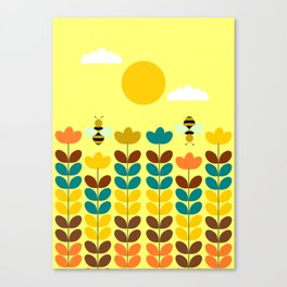 Flowers with bees Canvas Print