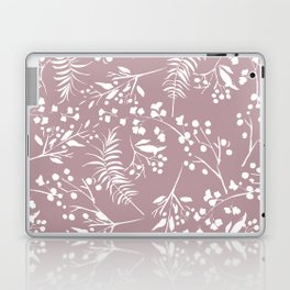 Modern mauve pink white hand painted floral Laptop & iPad Skin