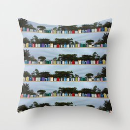 huts on the beach Throw Pillow