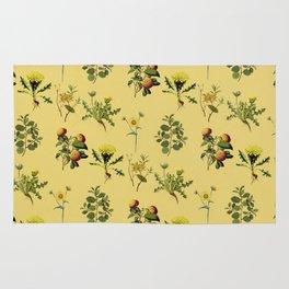 Wild Forest & Field Yellow Flower Herb Pattern Rug