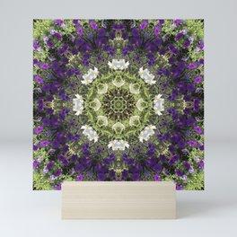 Icy White and Rich Violet Petunias Kaleidoscope Mini Art Print