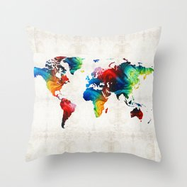 World Map 19 - Colorful Art By Sharon Cumming Throw Pillow