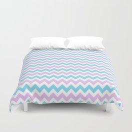 Light Blue, Lilac & White Chevron Pattern Duvet Cover