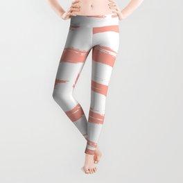 Pretty Pink Brush Stripes Horizontal Leggings