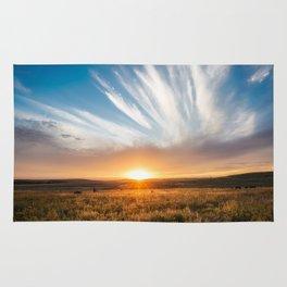 Grand Exit - Golden Sunset on the Oklahoma Prairie Rug