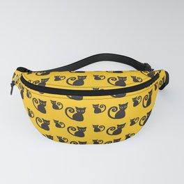 Black vector cat with orange eyes Fanny Pack