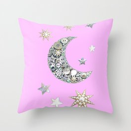 Vintage button Moon Throw Pillow