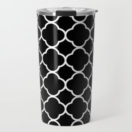 Black & White Moroccan Quatrefoil Design Travel Mug