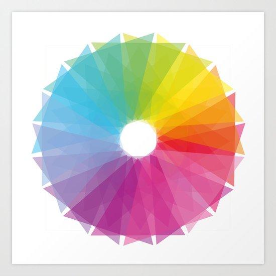 Geometric rainbow Art Print