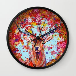 Autumn Herald - Deer Stag Fantasy Painting Wall Clock