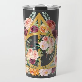 Watercolor Deathly Hallows - Gold/Charcoal Travel Mug