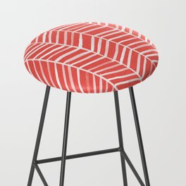 Coral Herringbone Bar Stool