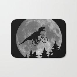 Biker t rex In Sky With Moon 80s Parody Bath Mat