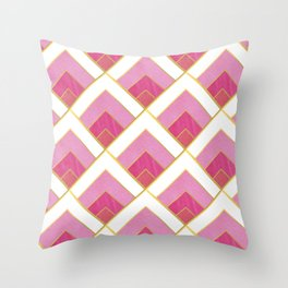Pink and Gold Diamond Art Deco Pattern Throw Pillow