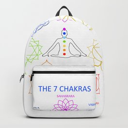 The seven chakras of the human body with their names Backpack