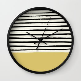 Daffodil Yellow x Stripes Wall Clock