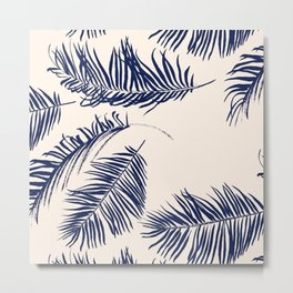 Blue Palm Leaves x Dry Brush Metal Print