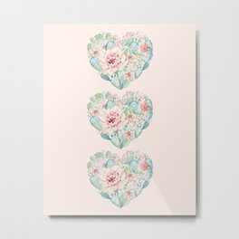 Three Hearts Cactus Rose Metal Print