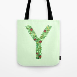 Leafy Letter Y Tote Bag