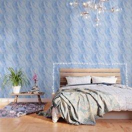 Shimmery Pure Cerulean Blue Marble Metallic Wallpaper