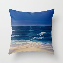 Night Beach Throw Pillow