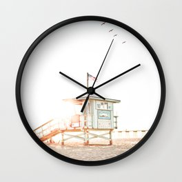 Pelicans Over the 10th Street Lifeguard Tower Wall Clock