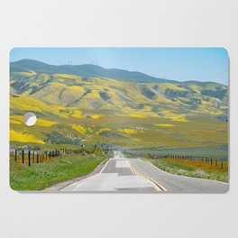 Leading lines of Highway 58 going through Carrizo Plain National Monument Cutting Board