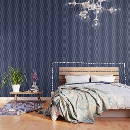 Indigo Navy Blue Polka Dot Wallpaper