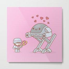 Robocop in Love Metal Print