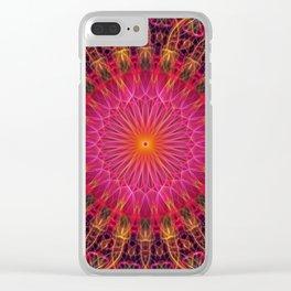 Mandala in red, orange in pink tones Clear iPhone Case