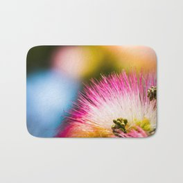 Exotic summer pink silk tree mimosa Bath Mat